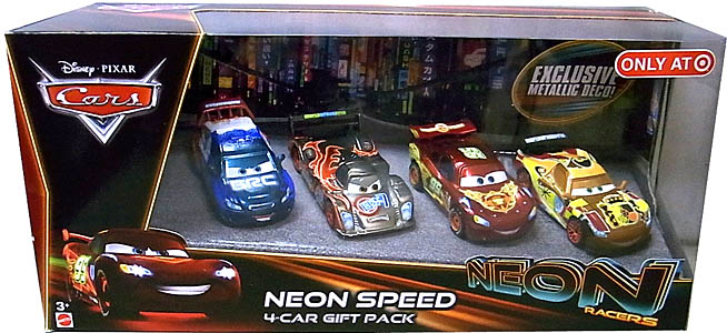 MATTEL CARS 2014 NEON RACERS 4-CAR GIFT PACK NEON SPEED パッケージ傷み特価