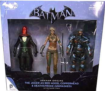 DC COLLECTIBLES BATMAN: ARKHAM ORIGINS 3PACK THE JOKER AS RED HOOD、COPPERHEAD、DEATHSTROKE [UNMASKED]