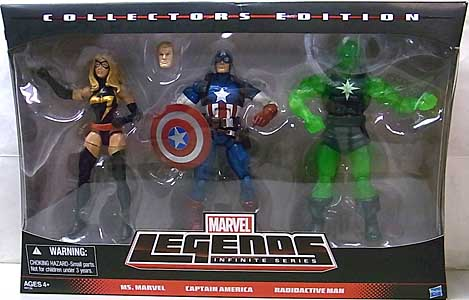 HASBRO MARVEL LEGENDS 2014 INFINITE SERIES 3PACK MS. MARVEL & CAPTAIN AMERICA & RADIOACTIVE MAN
