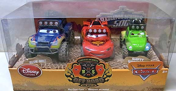 CARS 2014 USAディズニーストア限定 ダイキャストミニカー THE RADIATOR SPRINGS 500 1/2 OFF ROAD SERIES 3PACK BAJA McQUEEN入り