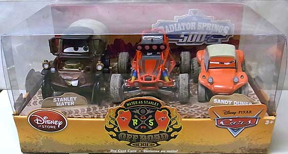 CARS 2014 USAディズニーストア限定 ダイキャストミニカー THE RADIATOR SPRINGS 500 1/2 OFF ROAD SERIES 3PACK STANLEY MATER入り