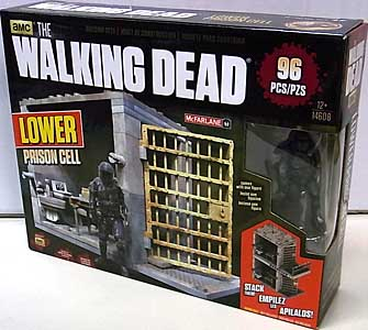 McFARLANE TOYS THE WALKING DEAD TV BUILDING SETS LOWER PRISON CELL [RIOT GEAR ZOMBIE]