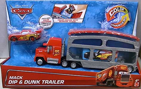 MATTEL CARS 2015 COLOR CHANGERS MACK DIP & DUNK TRAILER