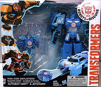 HASBRO アニメ版 TRANSFORMERS ROBOTS IN DISGUISE MINI-CON DEPLOYERS BLIZZARD STRIKE AUTOBOT DRIFT & JETSTORM パッケージ傷み特価