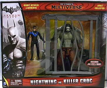 MATTEL DC COMICS MULTIVERSE 4インチアクションフィギュア BATMAN: ARKHAM CITY NIGHTWING VS KILLER CROC