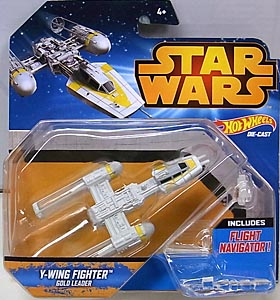 MATTEL HOT WHEELS STAR WARS DIE-CAST VEHICLE Y-WING FIGHTER GOLD LEADER
