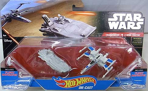 MATTEL HOT WHEELS STAR WARS THE FORCE AWAKENS DIE-CAST VEHICLE 2PACK FIRST ORDER TRANSPORTER VS RESISTANCE X-WING FIGHTER 台紙傷み特価
