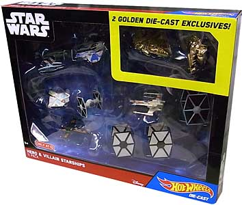 MATTEL HOT WHEELS STAR WARS DIE-CAST VEHICLE HERO & VILLAIN STARSHIPS 11PACK
