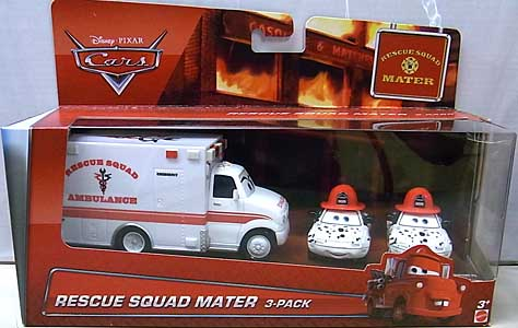 MATTEL CARS 2015 USA WALMART限定 CARS TOON 3PACK RESCUE SQUAD MATER パッケージ傷み特価