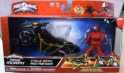USA BANDAI POWER RANGERS NINJA STEEL MEGA MORPH CYCLE WITH RED RANGER パッケージワレ&傷み特価