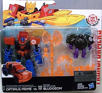 HASBRO アニメ版 TRANSFORMERS ROBOTS IN DISGUISE OPTIMUS PRIME VS MINI-CON DECEPTICON BLUDGEON 台紙傷み特価