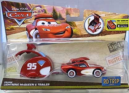 MATTEL CARS 2016 ROAD TRIP CRUISIN' LIGHTNING McQUEEN & TRAILER