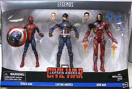 HASBRO MARVEL LEGENDS 2016 映画版 CAPTAIN AMERICA: CIVIL WAR SPIDER-MAN & CAPTAIN AMERICA & IRON MAN 3PACK