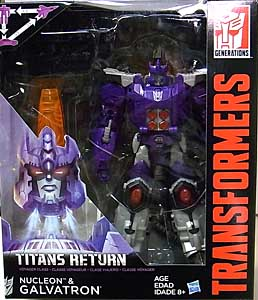 HASBRO TRANSFORMERS GENERATIONS TITANS RETURN VOYAGER CLASS NUCLEON & GALVATRON パッケージ傷み特価