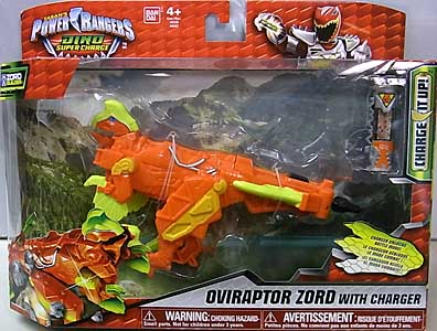USA BANDAI POWER RANGERS DINO SUPER CHARGE OVIRAPTOR ZORD WITH CHARGER パッケージ傷み特価