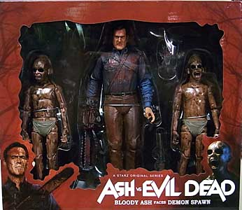 NECA ASH VS EVIL DEAD 7インチアクションフィギュア BLOODY ASH VS DEMON SPAWN 3PACK