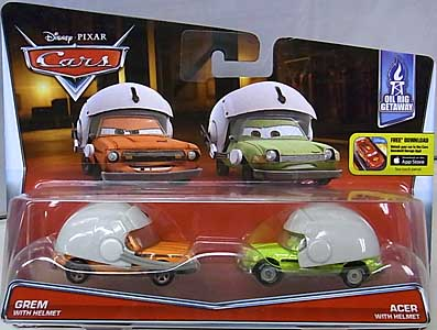 MATTEL CARS 2016 2PACK GREM WITH HELMET & ACER WITH HELMET 台紙傷み特価