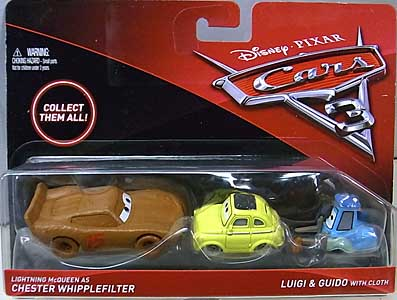 MATTEL CARS 3 2PACK LIGHTNING McQUEEN AS CHESTER WHIPPLEFILTER & LUIGI & GUID WITH CLOTH