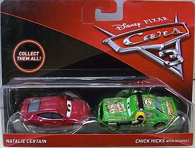 MATTEL CARS 3 2PACK NATALIE CERTAIN & CHICK HICKS WITH HEADSET