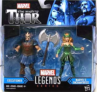 HASBRO MARVEL LEGENDS SERIES 2017 3.75インチアクションフィギュア 2PACK THE MIGHTY THOR EXECUTIONER & MARVEL'S ENCHANTRESS パッケージ傷み特価