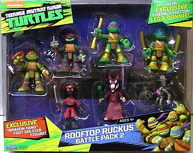 PLAYMATES NICKELODEON TEENAGE MUTANT NINJA TURTLES MINI-FIGURE ROOFTOP RUCKUS BATTLE PACK 2