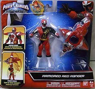 USA BANDAI POWER RANGERS NINJA STEEL 5インチアクションフィギュア ARMORED RED RANGER