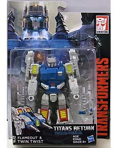 HASBRO TRANSFORMERS GENERATIONS TITANS RETURN DELUXE CLASS FLAMEOUT & TWIN TWIST ブリスター傷み特価