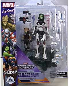 DIAMOND SELECT MARVEL SELECT USAディズニーストア限定 GUARDIANS OF THE GALAXY GAMORA WITH ROCKET パッケージ傷み特価