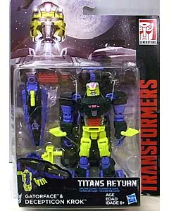 HASBRO TRANSFORMERS GENERATIONS TITANS RETURN DELUXE CLASS GATORFACE & DECEPTICON KROK 台紙傷み特価