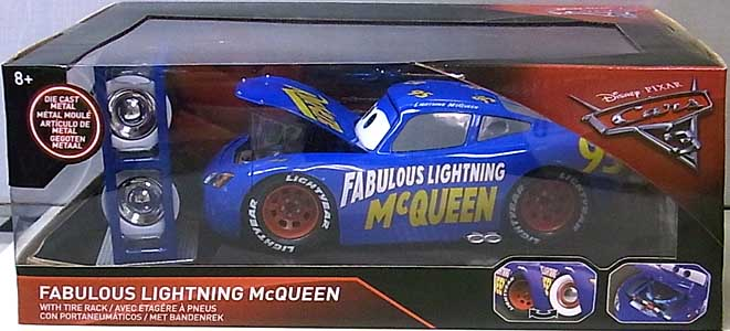 JADA TOYS CARS 3 METALS DIE CAST 1/24スケール FABULOUS LIGHTNING McQUEEN WITH TIRE RACK