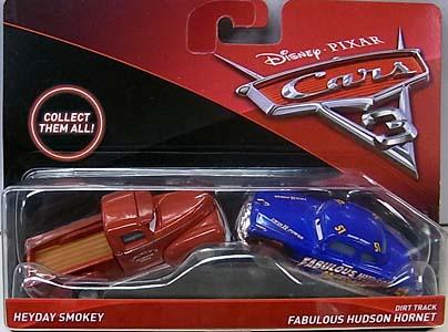MATTEL CARS 3 2PACK HEYDAY SMOKEY & DIRT TRACK FABULOUS HUDSON HORNET ブリスターワレ特価