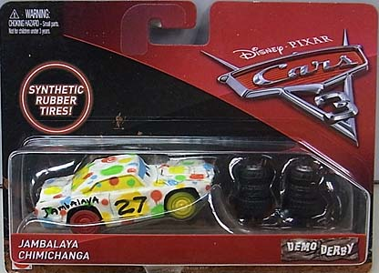 MATTEL CARS 3 DEMO DERBY JAMBALAYA CHIMICHANGA [RUBBER TIRES] 台紙傷み特価