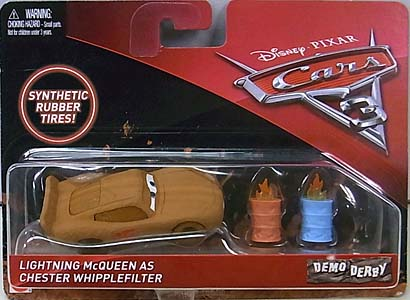 MATTEL CARS 3 DEMO DERBY LIGHTNING McQUEEN AS CHESTER WHIPPLEFILTER [RUBBER TIRES] ブリスター傷み特価
