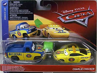 MATTEL CARS 2018 2PACK DEXTER HOOVER WITH GREEN FLAG & CHARLIE CHECKER