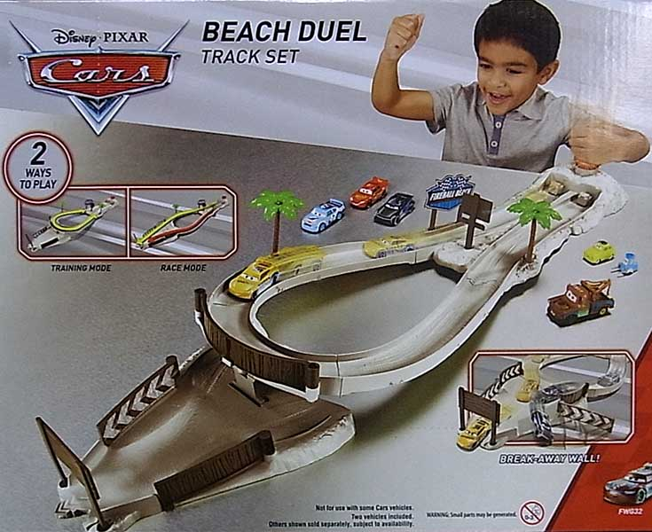 MATTEL CARS 2018 FIREBALL BEACH RACERS PLAYSET BEACH DUEL TRACK SET パッケージ傷み特価