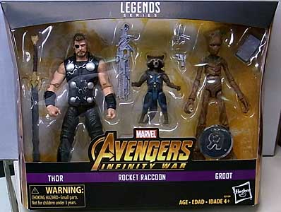 HASBRO MARVEL LEGENDS 2018 3PACK 映画版 AVENGERS: INFINITY WAR THOR & ROCKET RACCOON & GROOT パッケージ傷み特価