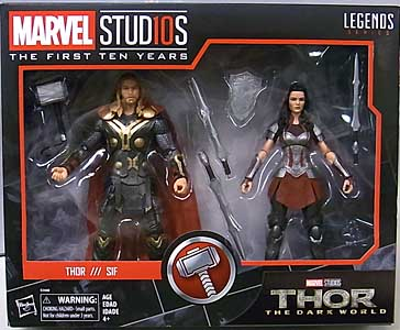 HASBRO MARVEL STUDIOS: THE FIRST TEN YEARS 映画版 THOR: THE DARK WORLD THOR & SIF 2PACK パッケージ傷み特価