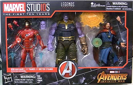 HASBRO MARVEL STUDIOS: THE FIRST TEN YEARS 映画版 AVENGERS: INFINITY WAR IRON MAN MARK L & THANOS & DOCTOR STRANGE 3PACK パッケージ傷み特価