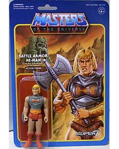 SUPER 7 REACTION FIGURES 3.75インチアクションフィギュア MASTERS OF THE UNIVERSE WAVE 3 BATTLE ARMOR HE-MAN 台紙傷み特価