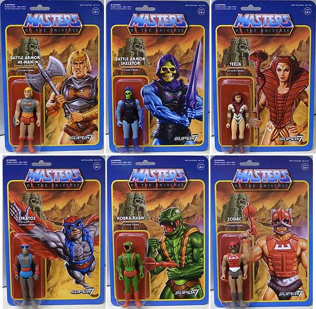 SUPER 7 REACTION FIGURES 3.75インチアクションフィギュア MASTERS OF THE UNIVERSE WAVE 3 6種セット