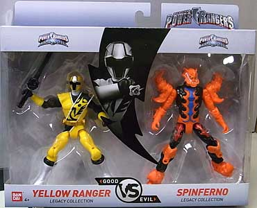 USA BANDAI POWER RANGERS LEGACY COLLECTION 5インチアクションフィギュア 2PACK NINJA STEEL YELLOW RANGER & SPINFERNO