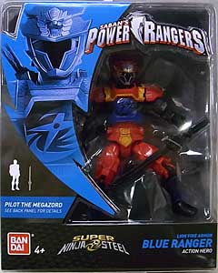 USA BANDAI POWER RANGERS SUPER NINJA STEEL 5インチアクションフィギュア LION FIRE ARMOR BLUE RANGER