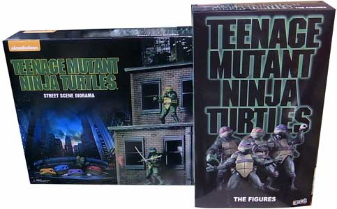 2018年 サンディエゴ・コミコン限定 NECA TEENAGE MUTANT NINJA TURTLES [1990 MOVIE] STREET SCENE DIORAMA AND ACTION FIGURE SET