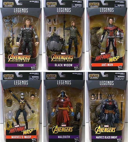 HASBRO MARVEL LEGENDS 2018 AVENGERS SERIES 5.0 6種セット [CULL OBSIDIAN SERIES]