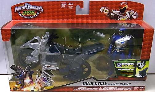 USA BANDAI POWER RANGERS DINO SUPER CHARGE DINO CYCLE AND BLUE RANGER