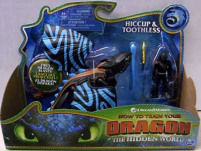 SPIN MASTER HOW TO TRAIN YOUR DRAGON: THE HIDDEN WORLD DRAGON WITH ARMORED VIKING FIGURE [HICCUP & TOOTHLESS WITH ALPHA BLUE MARKS] パッケージ傷み特価