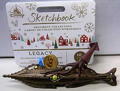 DISNEY USAディズニーストア限定 LEGACY SKETCHBOOK ORNAMENT 20,000 LEAGUES UNDER THE SEA NAUTILUS AND GIANT SQUID
