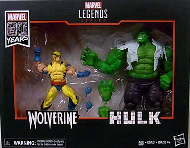 HASBRO MARVEL LEGENDS 2019 MARVEL 80 YEARS 2PACK WOLVERINE & HULK パッケージ傷み特価