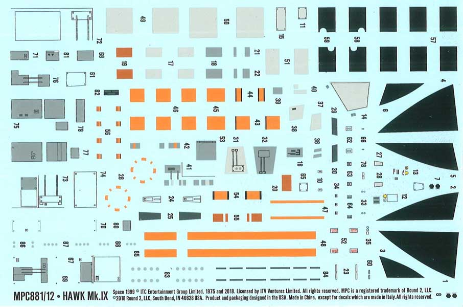 MPC 1/72スケール スペース1999 ホークIX 組み立て式プラモデル