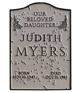 TRICK OR TREAT STUDIOS ENAMEL PIN HALLOWEEN JUDITH MYERS TOMBSTONE